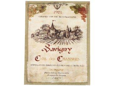 Décoration d'Autrefois - Tableau Sur Lin Vertical Grand Vin De Bourgogne 35x45cm - Bois, Lin