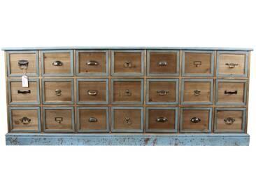 Décoration dAutrefois - Meuble Semainier Chiffonnier Grainetier Bois 21 Tiroirs Bleu Vieilli 192x40.5x76cm