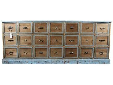 Décoration d'Autrefois - Meuble Semainier Chiffonnier Grainetier Bois 21 Tiroirs Bleu Vieilli 192x40.5x76cm