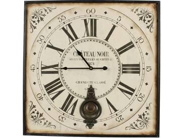 Décoration dAutrefois - Horloge Ancienne Balancier Carre Château Noir 60cm - Fer - Blanc