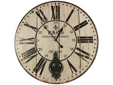Décoration dAutrefois - Horloge Ancienne Balancier Paris Château De Monceau 58cm - Bois - Blanc