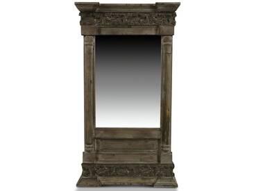Décoration dAutrefois - Miroir Ancien Rectangulaire Vertical Bois 42x10x75cm - Marron