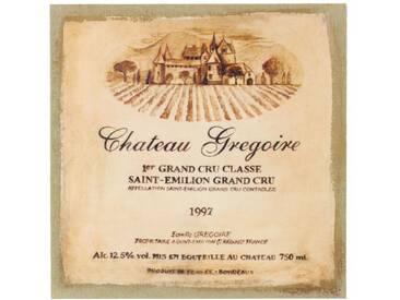 Décoration dAutrefois - Tableau Sur Lin Carre Château Grégoire 38x38cm - Bois, Lin
