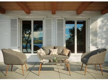 Cosenza : salon de jardin rotin 4 places en résine tressée et aluminium