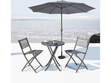 Salon de jardin Colisée + Parasol droit Figari gris