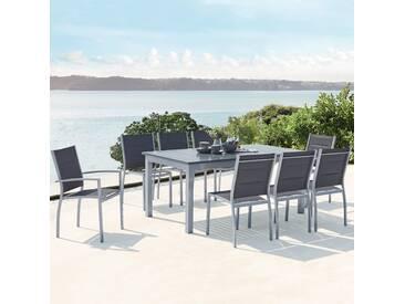 Salon de jardin extensible en aluminium   8 assises en textilène Arezzo 8 gris