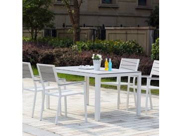 Siderno 4 : Salon de jardin en aluminium et polywood gris / blanc