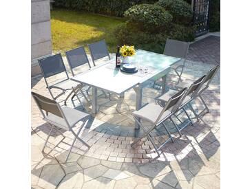 Molvina 8 : table de jardin extensible en aluminium 8 personnes + 8 chaises