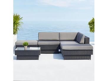 Amorgos gris : salon de jardin dangle en résine tressée noire poly rottin