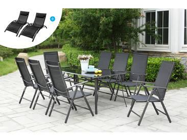 Salon de Jardin Aluminium et Textilène 8 fauteuils + Duo Transats Textilène Noir
