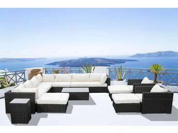 Stalla: Salon de jardin 13/14 pers modulable en résine tressée noire coussins blancs