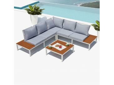 Fira, salon de jardin en aluminium Blanc & Gris