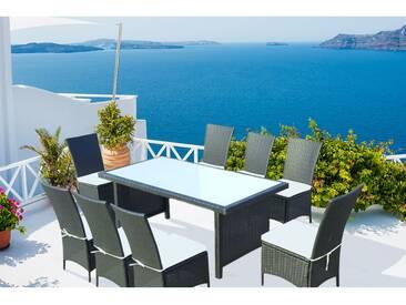 Zagora 8 : table de jardin 8 personnes + 8 chaises en résine tressée noire poly rottin