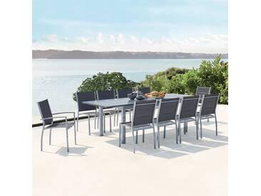 Salon de jardin extensible en aluminium   10 assises en textilène Arezzo 10 gris