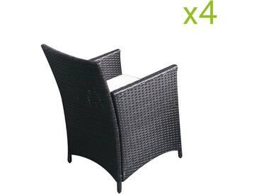 Fauteuils Bora x4 : lots de 4 chaises en résine tressée noir/blanc