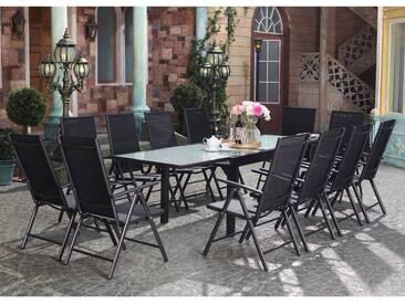 Brescia 12 : Ensemble de jardin en aluminium table extensible + 12 chaises en textilène