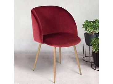 Lorea - Chaise scandinave velours bordeaux - Pieds métal