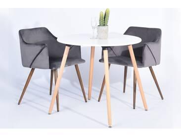 Aria - Lot de 2 chaises scandinaves grises avec accoudoirs