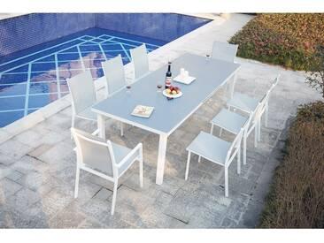 Moniga 8 : table de jardin extensible 8 personnes avec 2 fauteuils et 6 chaises en aluminium