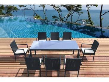 Atlas 8 : table de jardin 8 personnes + 8 chaises en résine tressée noire poly rottin