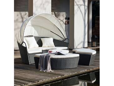 Circa : salon de jardin modulable 6/8 pers en résine tressée poly rotin gris