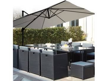 Salon de jardin encastrable Miami 12 noir/gris + Parasol déporté Cesare gris 3x4 m