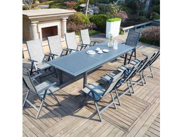 Berana 10 : table de jardin extensible 10 personnes + 10 chaises en aluminium
