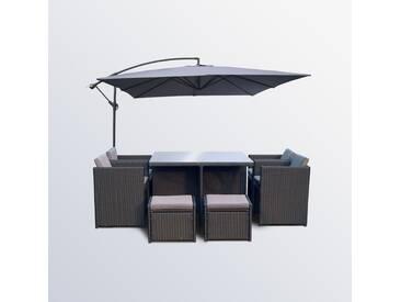 Miami 8 Noir/Gris + Solenzara gris : Salon de jardin encastrable résine + parasol