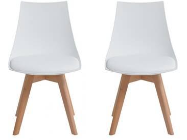 Isa - Lot de 2 chaises scandinaves blanches pieds bois