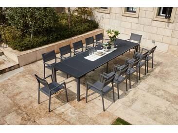 Mahe - Console extensible gris foncé alu & résine + 12 chaises