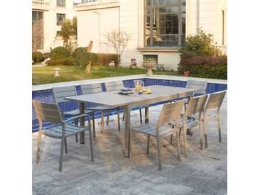 Mezzane : table de jardin extensible 8 personnes avec 2 fauteuils et 6 chaises en aluminium