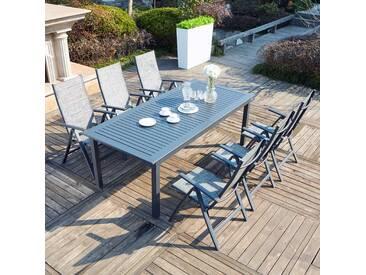 Berana 6 : table de jardin extensible 10 personnes + 6 chaises en aluminium