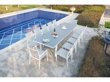Moniga 12 : table de jardin extensible 12 personnes avec 2 fauteuils et 10 chaises en aluminium