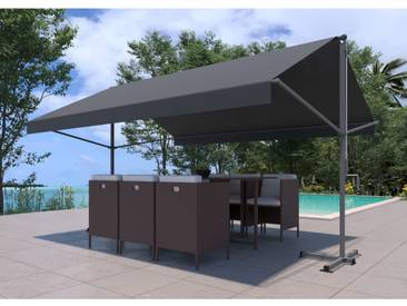 Iseo - Store banne double pente gris 3780 x 1500/1500 mm