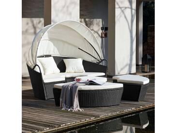 Circa : salon de jardin modulable 6/8 pers en résine tressée poly rotin noir