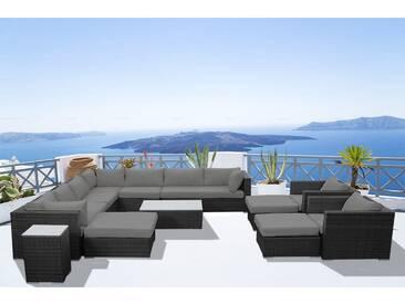 Stalla: Salon de jardin 13/14 pers modulable en résine tressée noire coussins gris