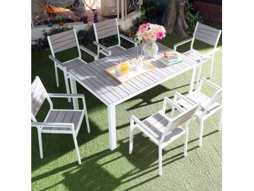 Siderno 6 : Salon de jardin en aluminium et polywood gris / blanc