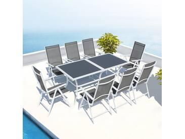 Table de jardin en aluminium blanc 180cm et 8 chaises en aluminium et textilène : Toscana
