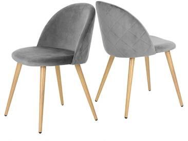 Lina - Lot de 2 chaises scandinaves grises - Pieds métal