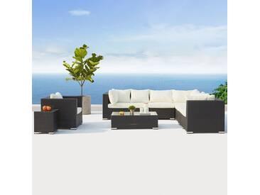 Salento noir/blanc : salon de jardin panoramique 8 places en résine tressée