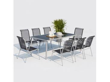 Table de jardin 190cm en acier avec 8 chaises en acier et textilène : Lusiana