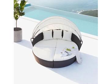 Cocoon : salon de jardin modulable 6/8 personnes en résine tressée noir/blanc