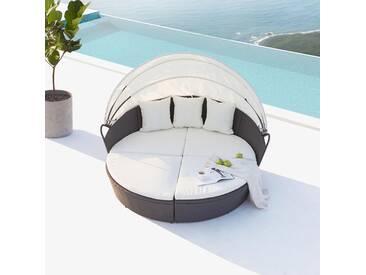 Cocoon : salon de jardin modulable 6/8 personnes en résine tressée gris/blanc