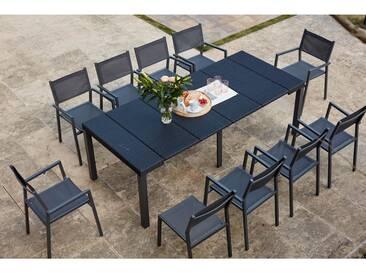 Mahe - Console extensible gris foncé alu & résine + 10 chaises