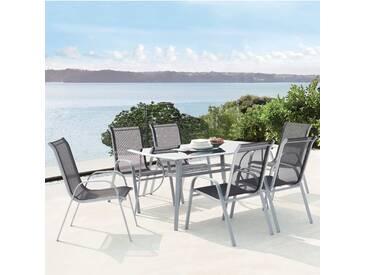 Alassio 6 : Ensemble table en aluminium + 6 chaises en acier