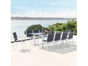 Salon de jardin extensible en aluminium   10 assises en textilène Arezzo 10 blanc