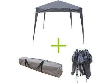 Marsa 3x3 : Tente de jardin Pergola pliable 3x3m grise tonnelle