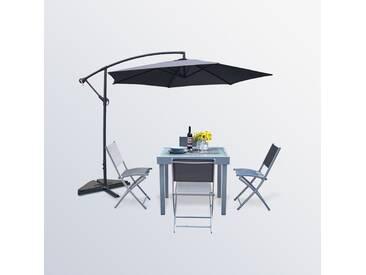 Molvina 4 + Porticcio Gris : table de jardin extensible aluminium + 4 chaises + Parasol déporté