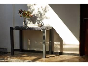Mahe - Console extensible gris foncé alu & résine + 6 chaises