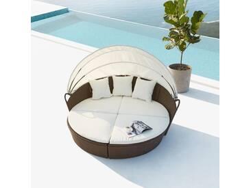 Cocoon : salon de jardin modulable 6/8 personnes en résine tressée marron/blanc